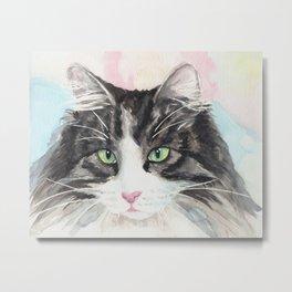 Watercolor Cat 13 My Master Metal Print