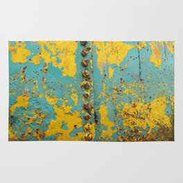 yellow and blue worn paint and rust texture Rug