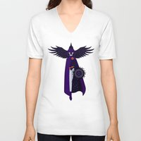 raven V-neck T-shirts featuring RAVEN by badOdds