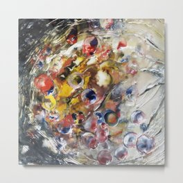 Cosmic Orbit - Mixed Media Beeswax Encaustic Abstract Modern Fine Art, 2015 Metal Print