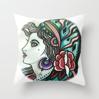 gypsy Throw Pillows featuring Gypsy by David Ansted, Kosoof.