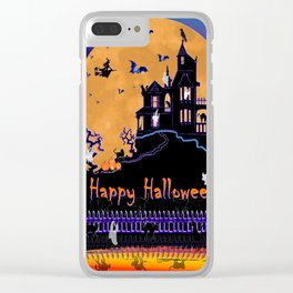 Halloween Haunted House Clear iPhone Case