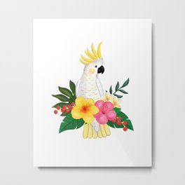 Tropical Cockatoo Floral Watercolor Metal Print