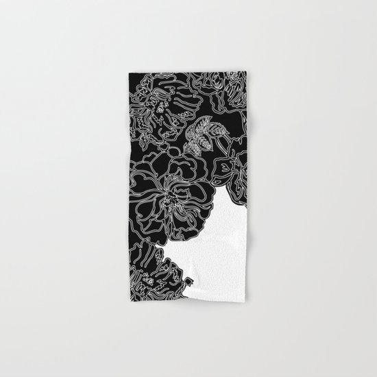 Floral In Black And White Hand Bath Towel By Absentis Designs Society6