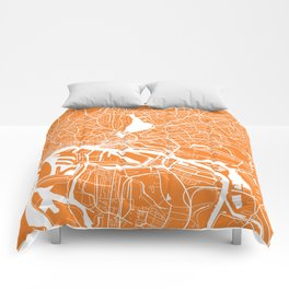 Hamburg map orange Comforters