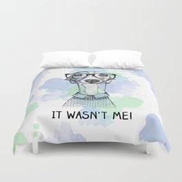 Greyhound with glasses Duvet Cover