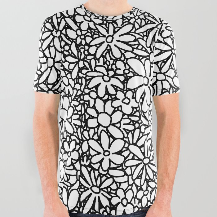 Outlined_Daisies_All_Over_Graphic_Tee_by_Dood_L__Large
