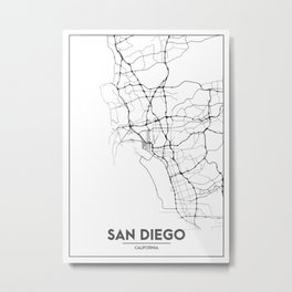Minimal City Maps - Map Of San Diego, California, United States Metal Print