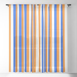 Team Colors 4... orange , blue  and white Sheer Curtain