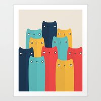 cats Art Prints featuring Cats by Volkan Dalyan