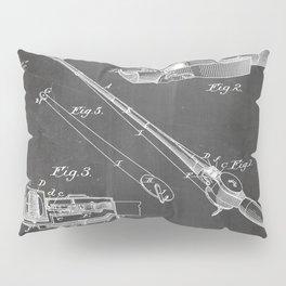 Fishing Rod Patent - Fishing Art - Black Chalkboard Pillow Sham