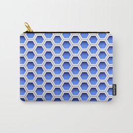 Blue white honeycomb hexagons Carry-All Pouch