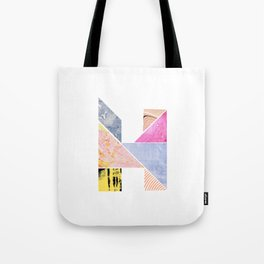 Collaged Tangram Alphabet - H Tote Bag