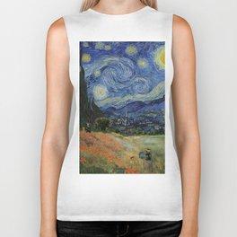 Poppy Fields + Starry Night | Collage 2.0 by Kristi Duggins Biker Tank