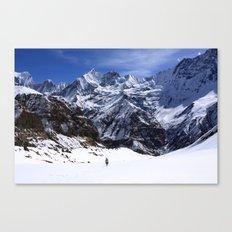 Hiker In Mountain Landscape Canvas Print