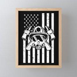 Firefighter Gift USA Flag Fireman Fire Department Gift Framed Mini Art Print