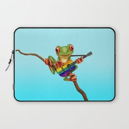 Tree Frog Playing Acoustic Guitar with Gay Pride Rainbow Flag Laptop Sleeve