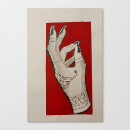 Hand of Fate -Red Color Block Henna Tattoo Girl Witch Hand Canvas Print