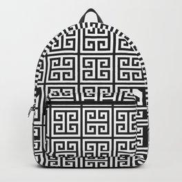 Greek Key pattern - Greek fret design , black and white Backpack