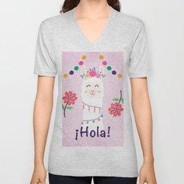 ¡Hola! Cute Pink Alpaca - Boho Llama Illustration Unisex V-Neck