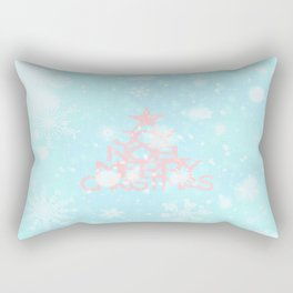 Joy, Noel, Merry Christmas and Star pattern - pink on aqua Rectangular Pillow