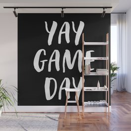Yay Game Day Football Sports Team White Text Wall Mural
