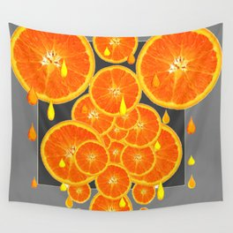 DRIPPING JUICY ORANGE SLICES ABSTRACT MODERN ART Wall Tapestry