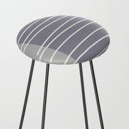 Mid century modern textured gray stripes Counter Stool