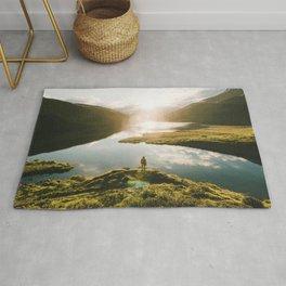 Switzerland Mountain Lake Sunrise - Landscape Photography Rug