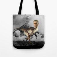 christopher walken Tote Bags featuring ChristopheRAPTOR Walken - Christopher Walken Velociraptor by Kalynn Burke