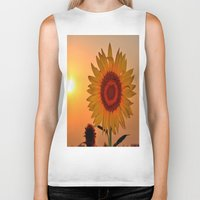 sunflower Biker Tanks featuring sunflower by  Agostino Lo Coco