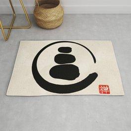 Zen Enso Circle and Zen stones Rug