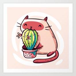 Cat Eating Cactus Art Print