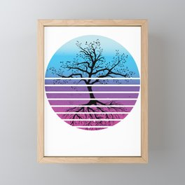 Tree In Retro Sun Genealogy Family Historian Gift Framed Mini Art Print