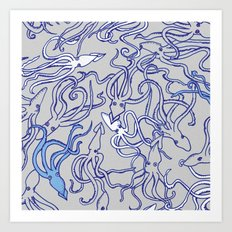 Squids of the inky ocean Art Print