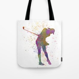 Female golf player competing in watercolor 01 Tote Bag