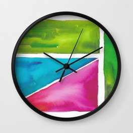 180811 Watercolor Block Swatches 5| Colorful Abstract |Geometrical Art Wall Clock