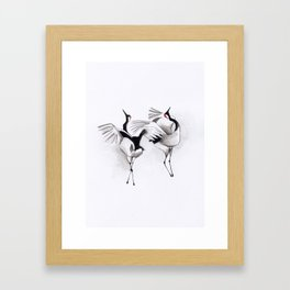 Japanese cranes mating ritual Framed Art Print