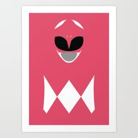 power ranger Art Prints featuring Power Rangers - Pink Ranger Minimalist by TracingHorses