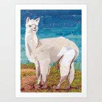 alpaca Art Prints featuring Alpaca by GiGi Garcia Collages