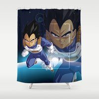 vegeta Shower Curtains featuring Vegeta by Neo Crystal Tokyo