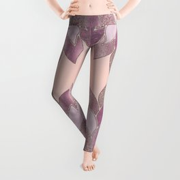 Elegant Glamorous Pink Rose Gold Lotus Flower Leggings