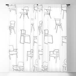 Mid Century Chairs Print Black and white Blackout Curtain
