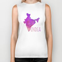 india Biker Tanks featuring India by Stephanie Wittenburg