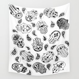 Many Hamsa Hands Wall Tapestry