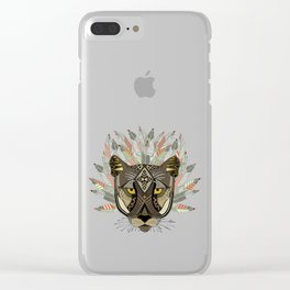 native mountain lion gold Clear iPhone Case