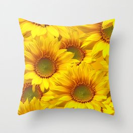 Yellow Mellow Sunflower Bouquet #decor #society6 #buyart Throw Pillow