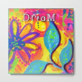 Dream Painting, Girls Room Artwork, Nursery Decor, Pink, Light Blue, Yellow Metal Print