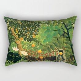 "Henri Rousseau ""Monkeys in the jungle - Exotic landscape"" Rectangular Pillow"