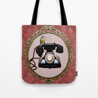 telephone Tote Bags featuring Telephone by Axiomatic Art